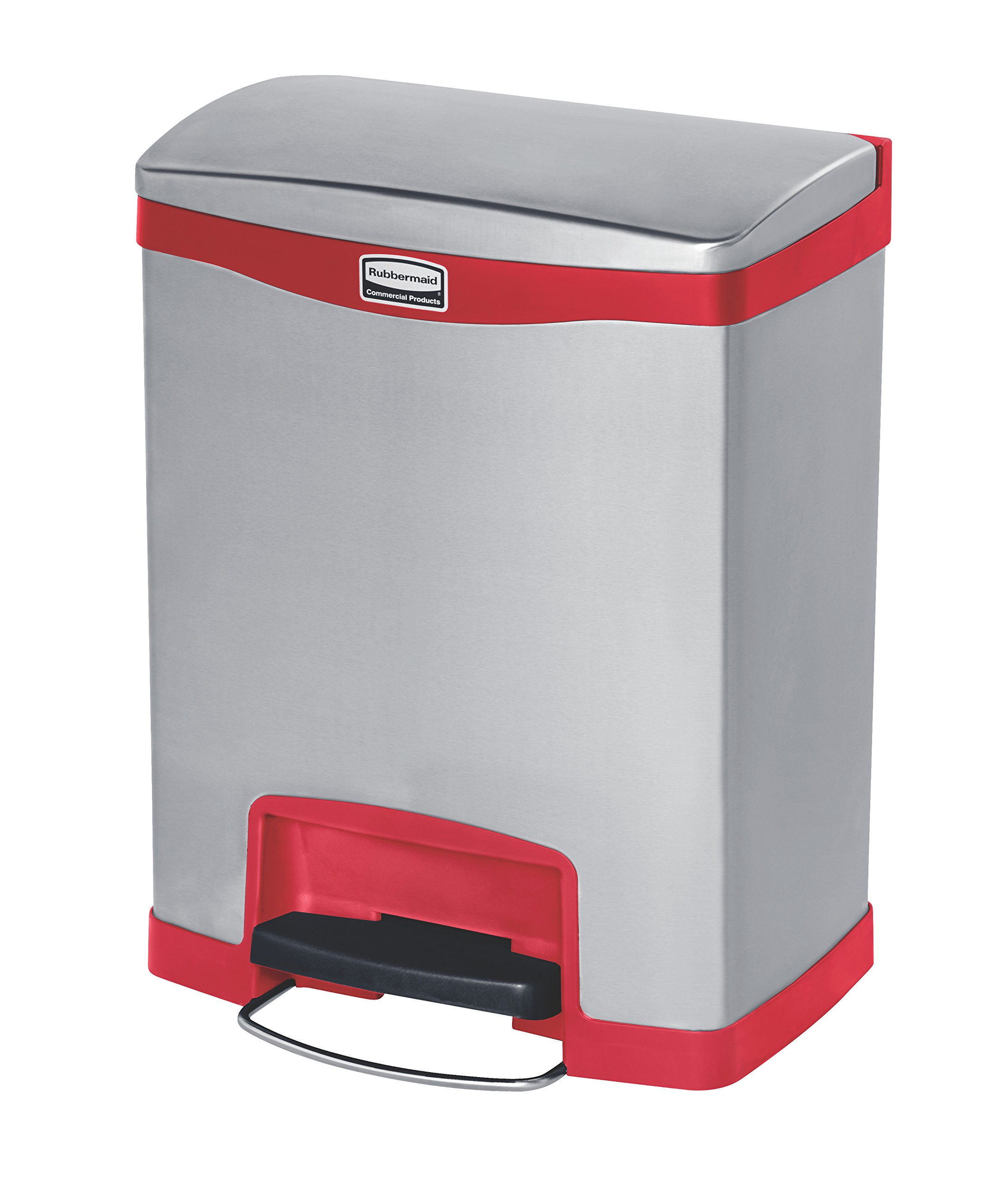 Rubbermaid Commercial Slim Jim Stainless Steel Front Step-On Wastebasket, 8-gallon, Red (1901988)