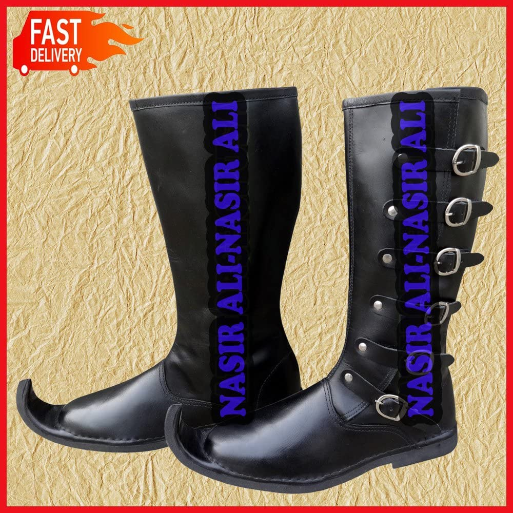 Medieval Leather Boots Re-enactment Costume Buckled Shoes Vintage Shoe Long Boot