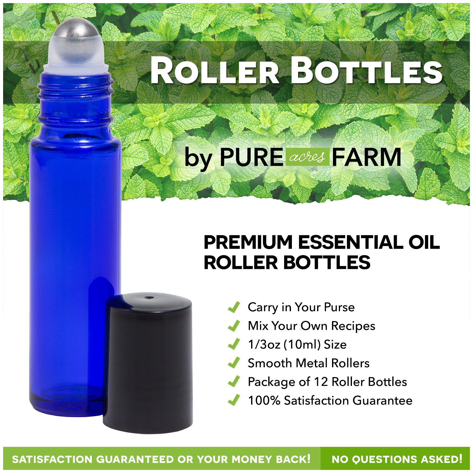 Pure Acres Farm, 12, Cobalt Blue, 10 ml Glass Roll-on Bottles with Stainless Steel Roller Balls. 3 ml Droppers included by Pure Acres Farm (Image #2)
