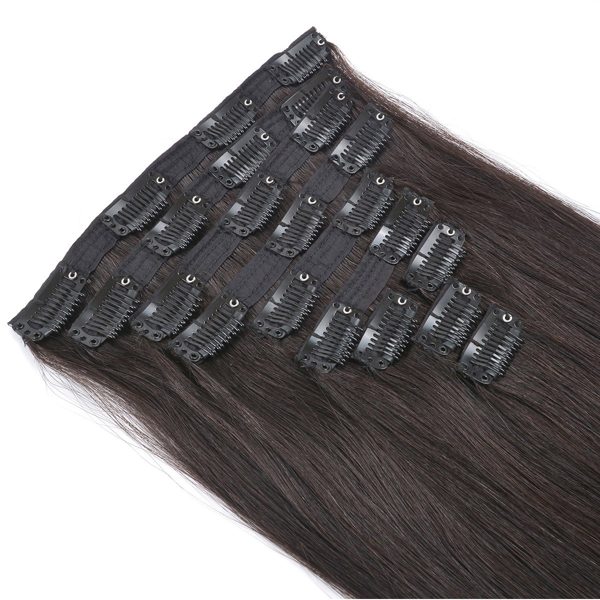 20'' Clip in Human Hair Extensions Natural Hair Clip in Extensions for Thick Hair Full Head Off Black #1B 10pieces 220grams/7.7oz by BEAUTY PLUS (Image #5)