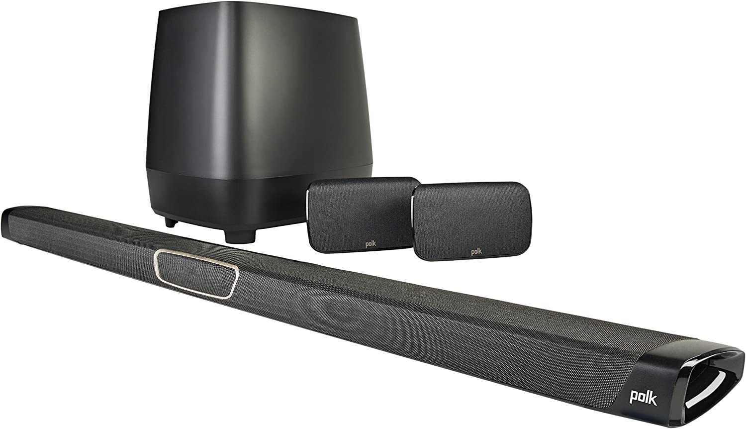 Polk Audio MagniFi Max SR Home Theater Surround Sound Bar | Works with 4K & HD TVs | HDMI, Optical Cables, Wireless Subwoofer & Two Speakers Included Black