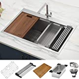 Ruvati 30 x 22 inch Workstation Drop-in Tight Radius Topmount 16 Gauge Ledge Stainless Steel Kitchen Sink Single Bowl…
