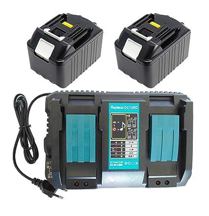 2pcs 6.0Ah 18V Reemplace la batería Makita BL1860 BL1840 BL1830 BL1830 194204-5 para Makita BDF452HW con 4A Doble cargador rápido Makita DC18RD ...