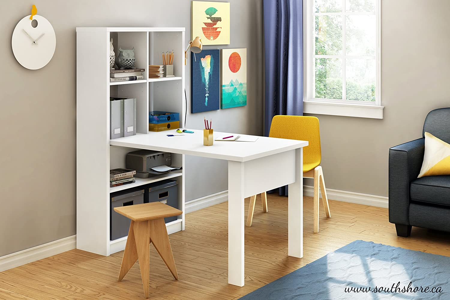 work table office. Amazon.com: South Shore Annexe Work Table And Storage Unit Combo, Pure White: Kitchen \u0026 Dining Office E