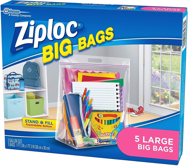 Ziploc Big Bag Large Double Zipper - 5 Ct - 2 Pk