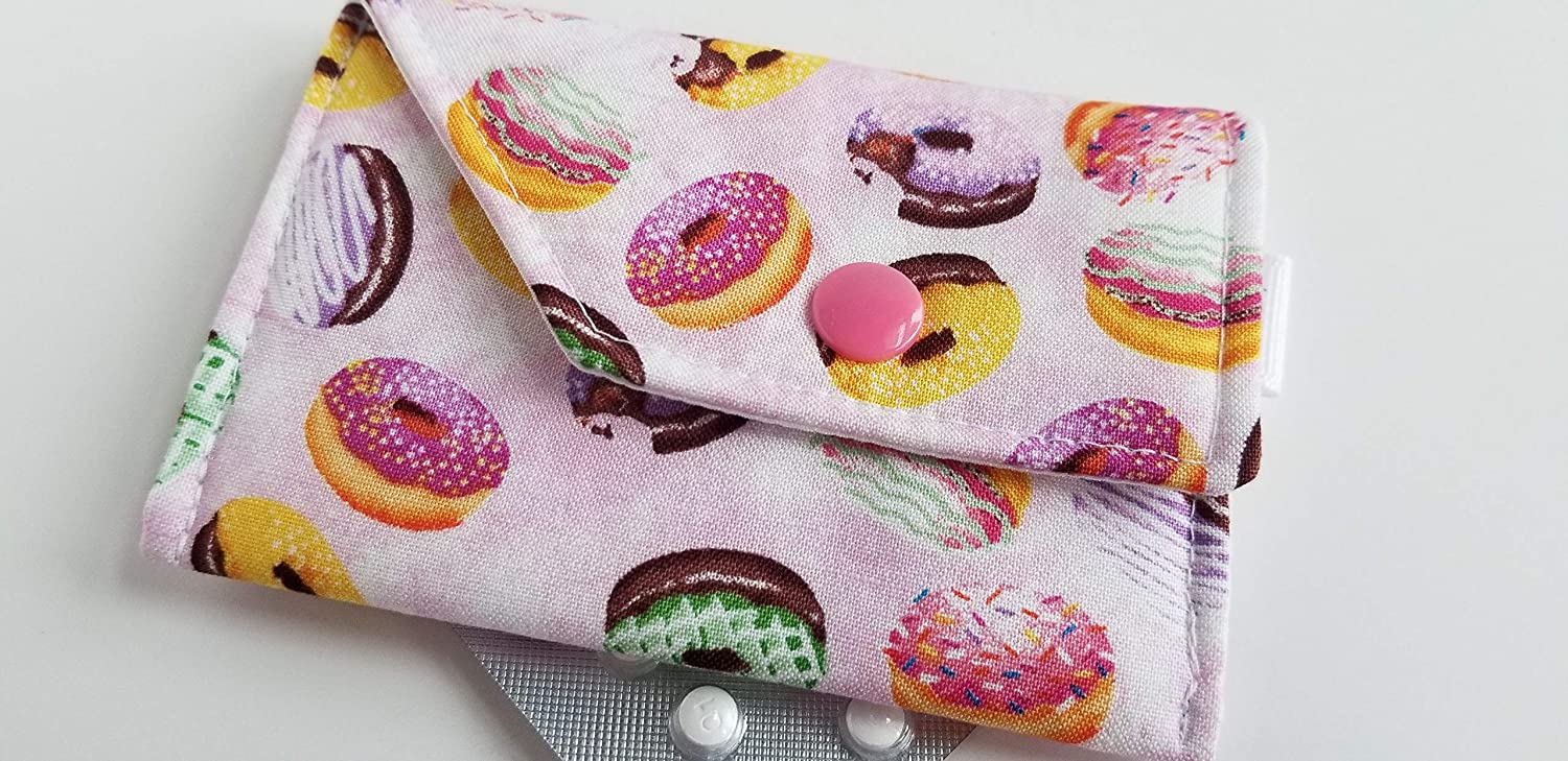 Birth Control Case Sleeve with Snap Closure and Optional Keychain Clip Donuts