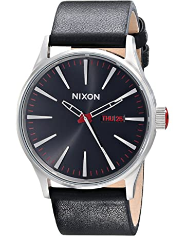 4e95817577e Nixon Men s A105 Sentry 42mm Stainless Steel Leather Quartz Movement Watch