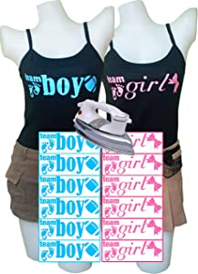 PrinturShirt Gender Reveal Shirts   Baby Gender Reveal Voting Stickers for Team Boy, Girl - for Party Supplies - Iron On Heat Transfer Vinyl Set - 12pcs, Pink and Blue - Easy To Use, Savings