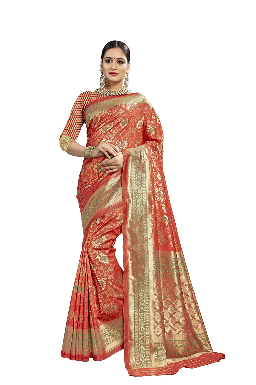 Banarasi Silk Saree With Unstitched Blouse For Festive Wear