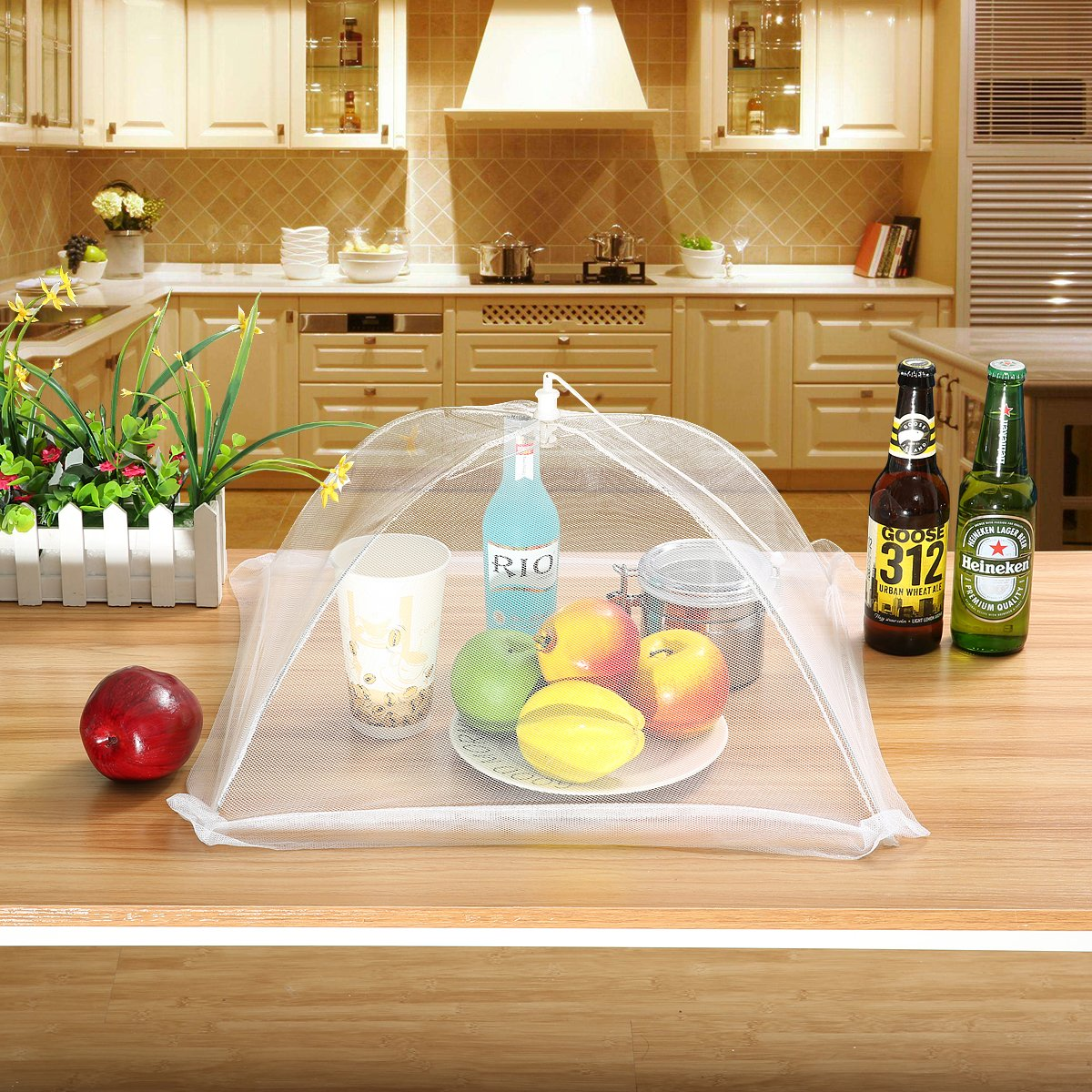 Jeteven Pack of 4 Mesh Food Covers, 17'' Plate Serving Tents Pop Up Food Protector Net, Indoor/ Outdoor Keep Out Flies Bugs Mosquitoes