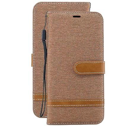 Laybomo Carcasa para Xiaomi Redmi Note 7 Tapa Cuero Estilo de Jeans Monederos Billetera Bolsa Magnética Protector Silicona Suave TPU Flip Cover Funda ...