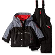 Carter's Baby Boys Heavyweight 2-Piece Skisuit Snowsuit, Very Very Black/Grey Texture, 12M