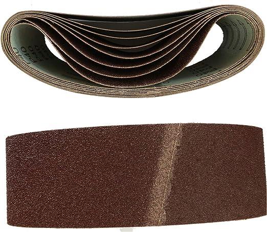Lot de 10 bandes abrasives en tissu 75 x 457 mm Grain 80 pour ponceuse /à bande
