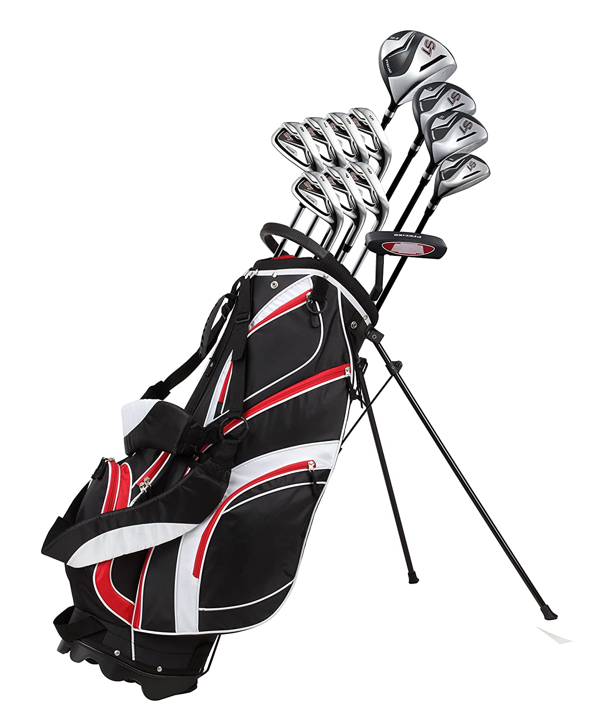 18 Piece Men's Complete Golf Club Package Set With Titanium Driver, #3 & #5 Fairway Woods, #4 Hybrid, 5-SW Irons, Putter, Stand Bag, 4 H/C's - Choose Color & Size