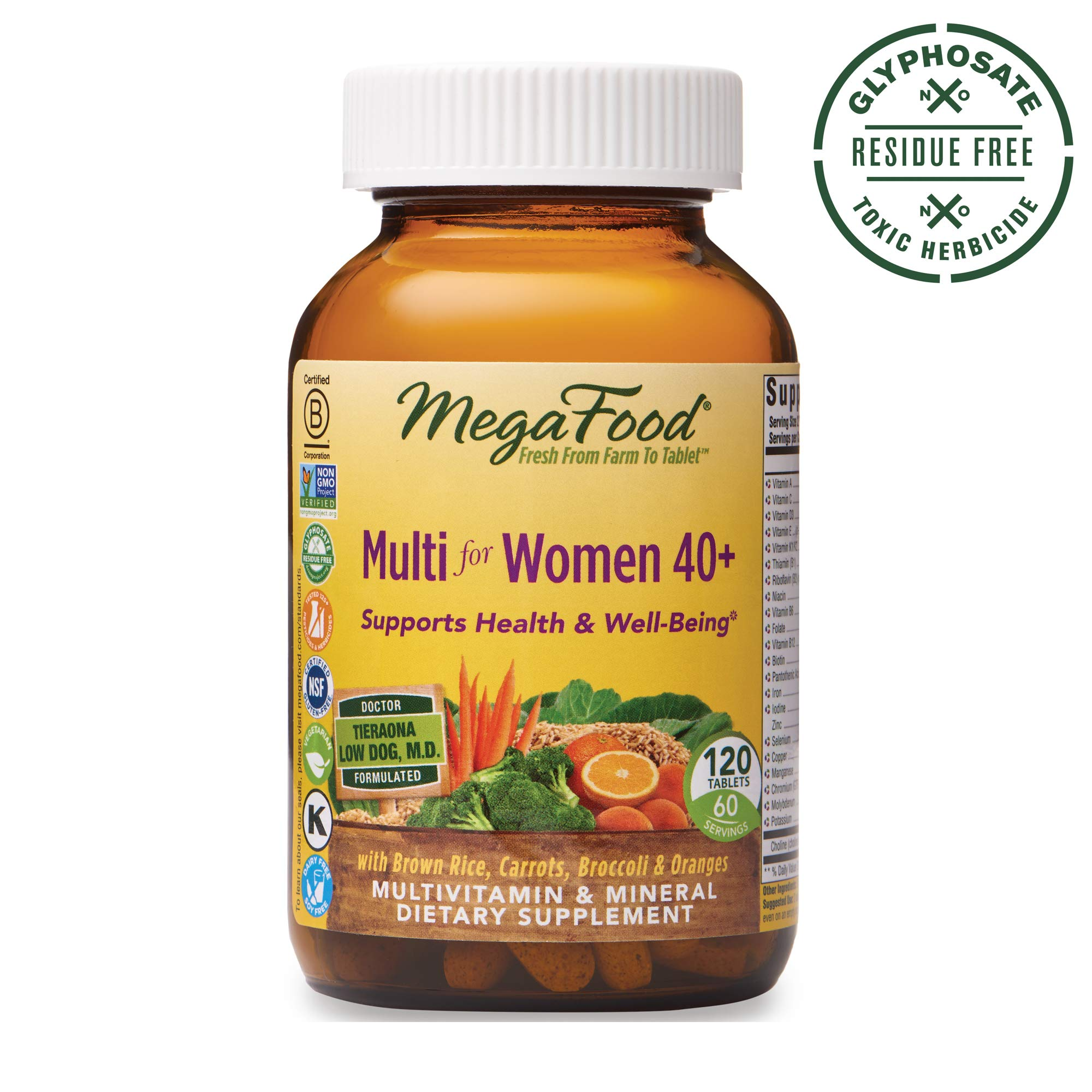 MegaFood, Multi for Women 40+, Supports Optimal Health and Wellbeing, Multivitamin and Mineral Dietary Supplement, Gluten Free, Vegetarian, 120 tablets (60 servings) by MegaFood