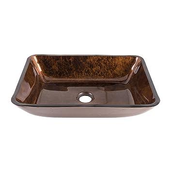 Superior VIGO VG07089 Rectangular Russet Glass Vessel Bathroom Sink, 18u0026quot;,  Russet / 18u201d