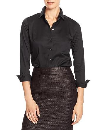 Banana Republic Women's Tailored Non-Iron Button Down Shirt Black ...