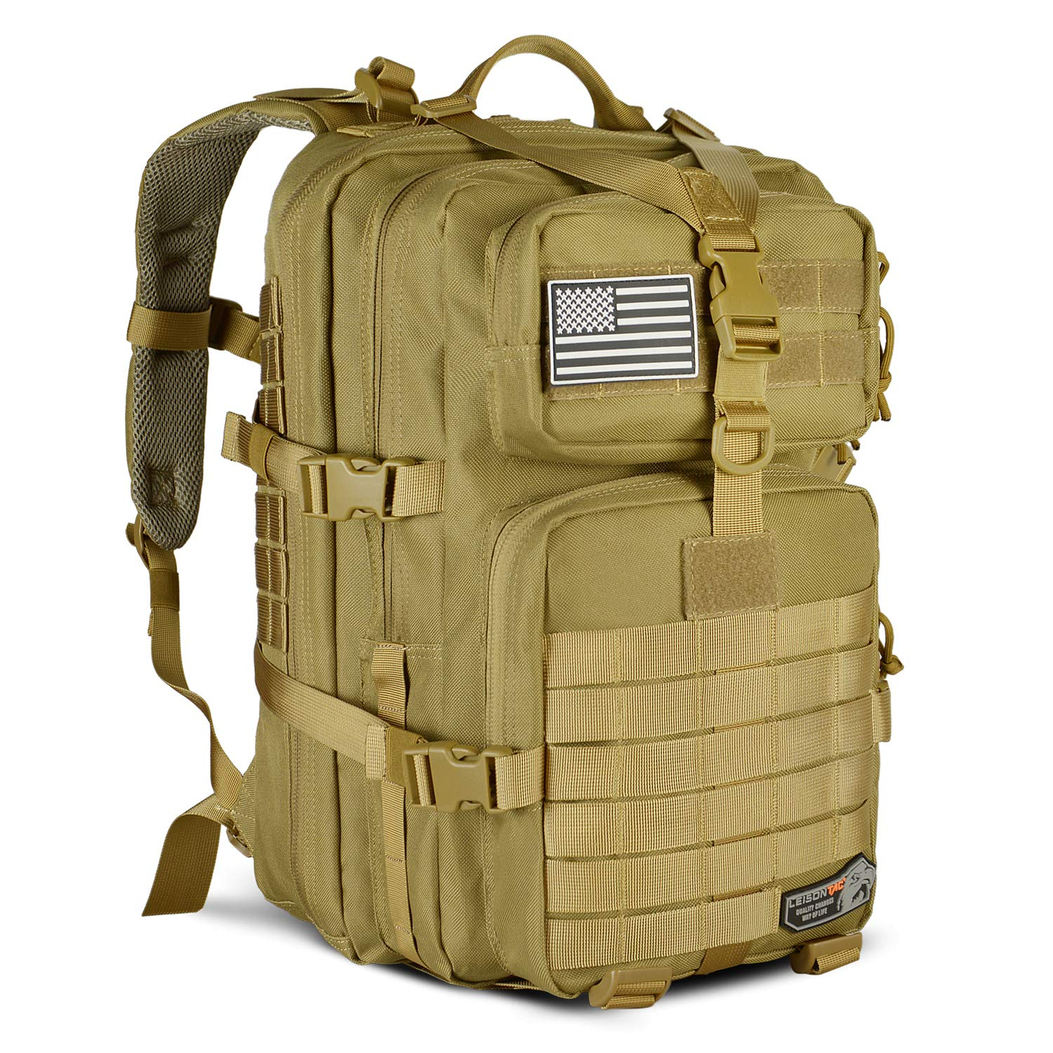 LeisonTac Tactical Back Pack Military ISO Standard for Hunting Hiking Travel & Camping   Heavy Duty Nylon Stitching Water Resistant Small Rucksack with Hydration Bladder Compartment (Coyote)