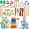 Tobeape Musical Percussion Instrument Set, 25 Pcs Toddler Musical Education Instruments Toys Wooden Percussion Toys and Rhythm Instruments Girls Boys Gift with Backpack