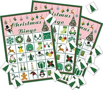 Gejoy Juego de Bingo de Navidad Favores de Juego de Fiesta de Navidad Actividades Navideñas para Suministros de Fiesta de Tema de Navidad de 24 Jugadores (Estilo Conjunto 2): Amazon.es: Juguetes y
