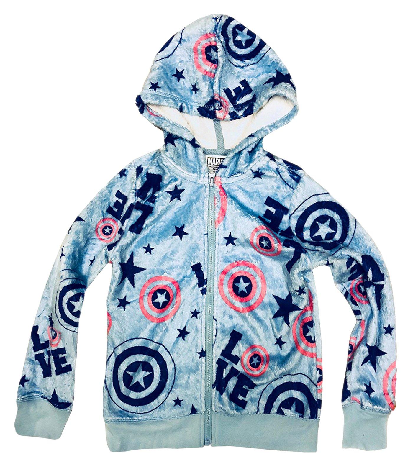Captain America Marvel Avengers Girls' Love Fleecy Minky Hooded Sweatshirt (XS(4-5))