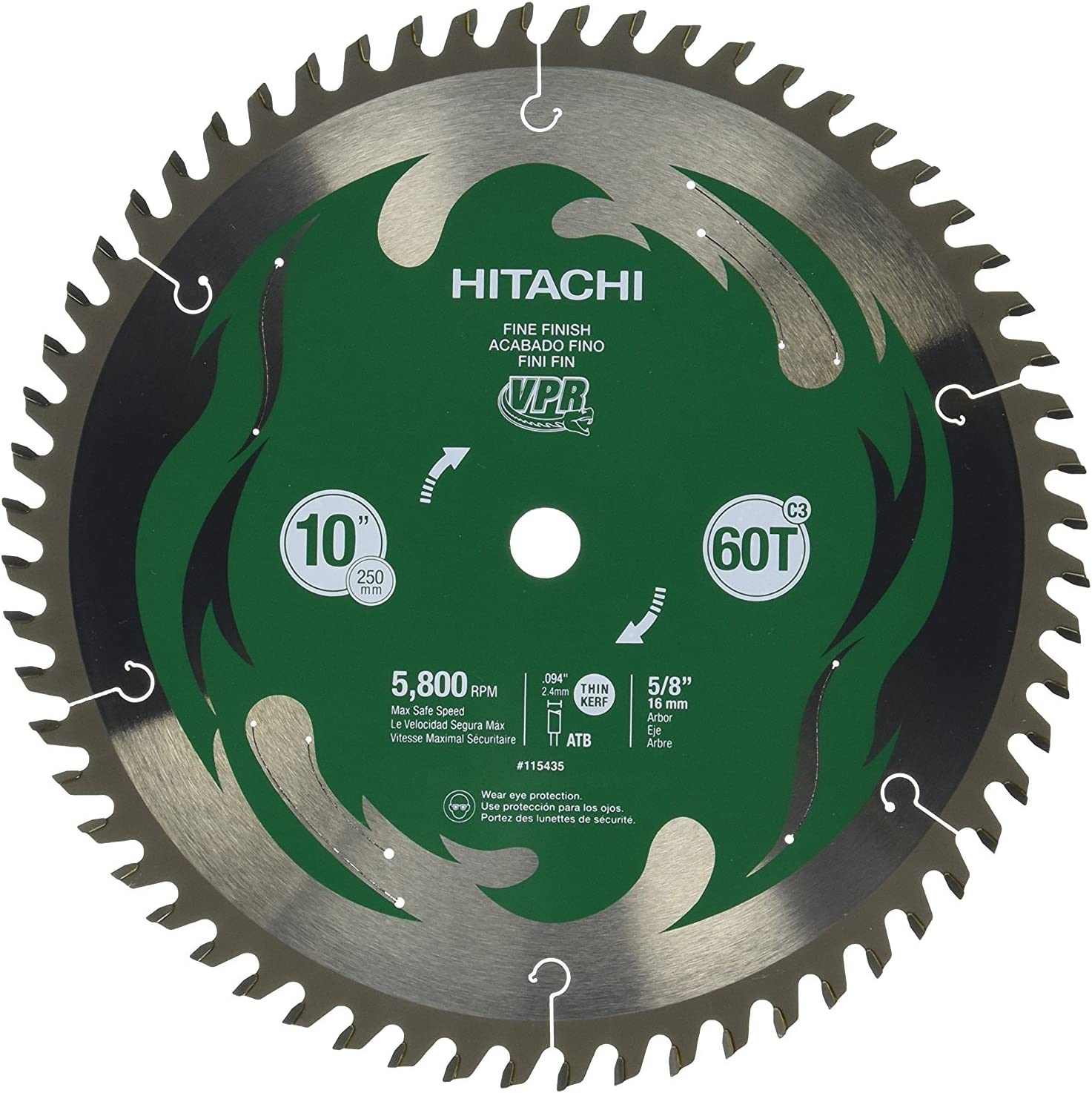"Hitachi 115435 10"" 60T Fine Finish VPR Miter Saw Blade"