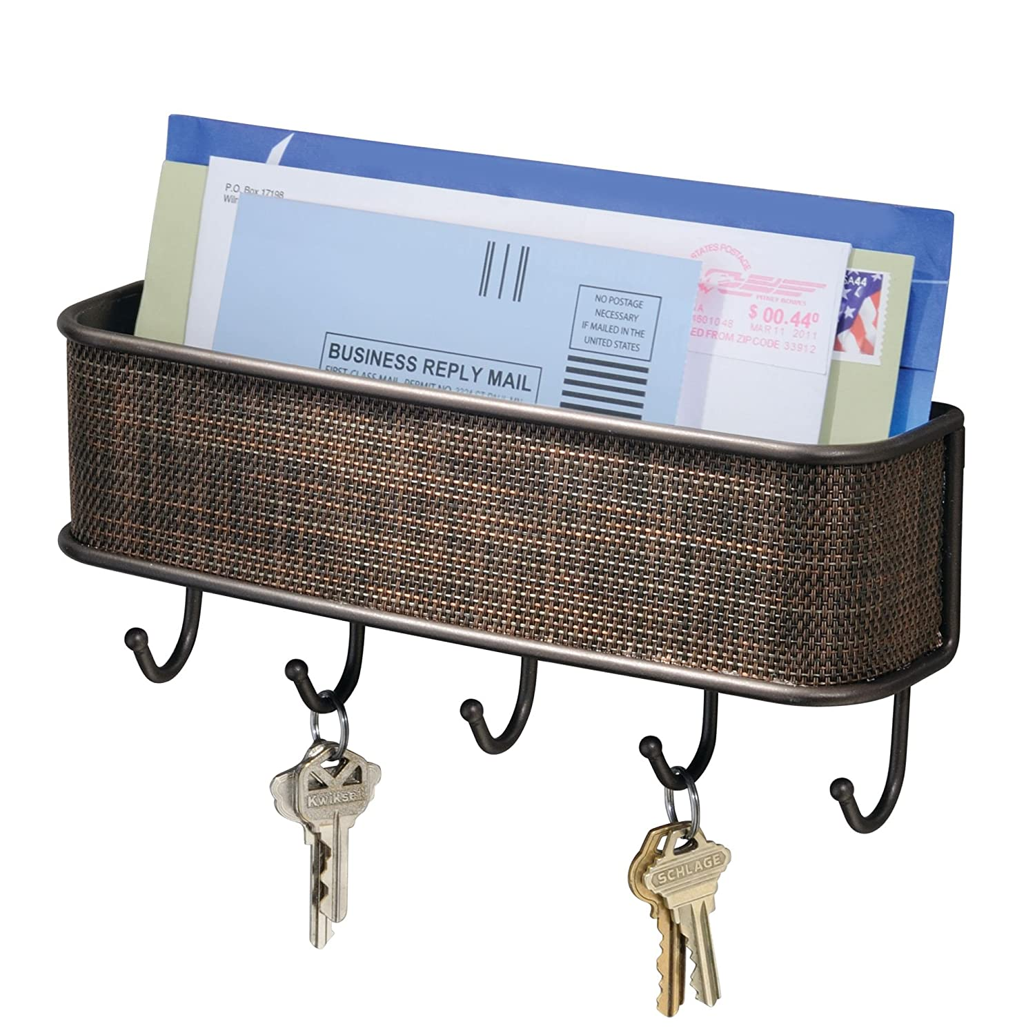 """InterDesign Twillo Mail, Decorative Wall Mounted Key Rack Pocket and Letter Sorter Holder for Entryway, Kitchen, Mudroom, Home Office Organization, 10.5"""" x 2.5"""" x 4.5"""", Bronze"""