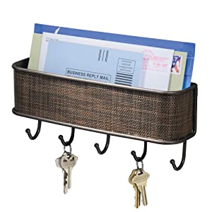 "InterDesign Twillo Mail, Decorative Wall Mounted Key Rack Pocket and Letter Sorter Holder for Entryway, Kitchen, Mudroom, Home Office Organization, 10.5"" x 2.5"" x 4.5"", Bronze"