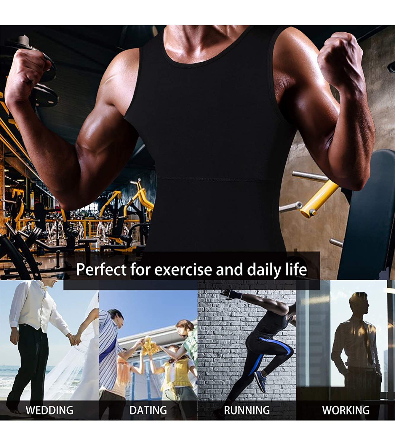Ursexyly Men Compression Shirt Baselayer Shapewear Vest Tummy Control Back Support Tank Top