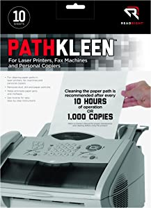 Read Right PathKleen Laser Printer Cleaning Sheets, 8.5 x 11 Inches Sheets, 10 Sheets per Package (RR1237)