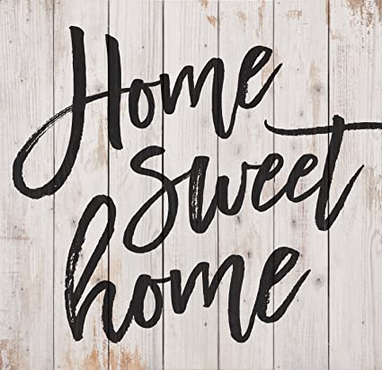 Home Sweet Home Script Design White Wash 25 x 24 Inch Solid Pine Wood Pallet Wall Plaque Sign