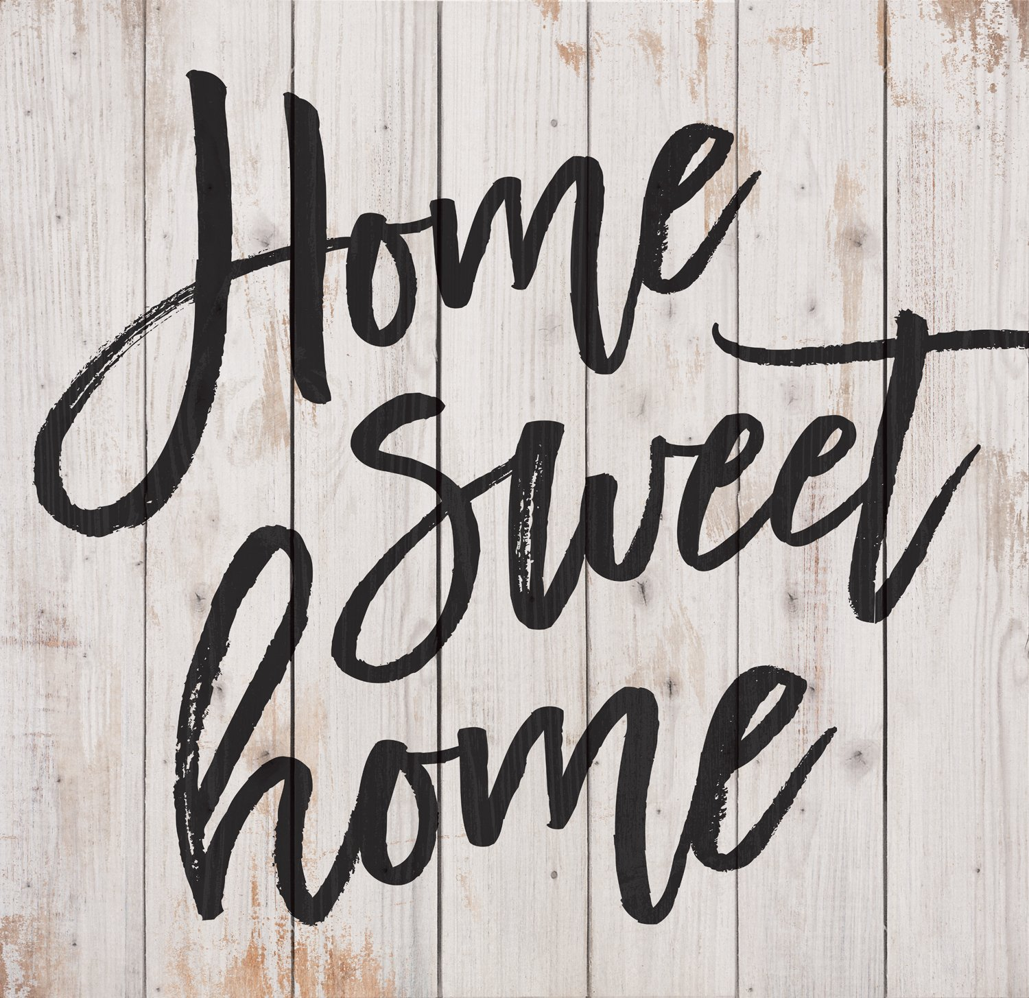P. Graham Dunn Home Sweet Home Script Design White Wash 25 x 24 Inch Solid Pine Wood Pallet Wall Plaque Sign