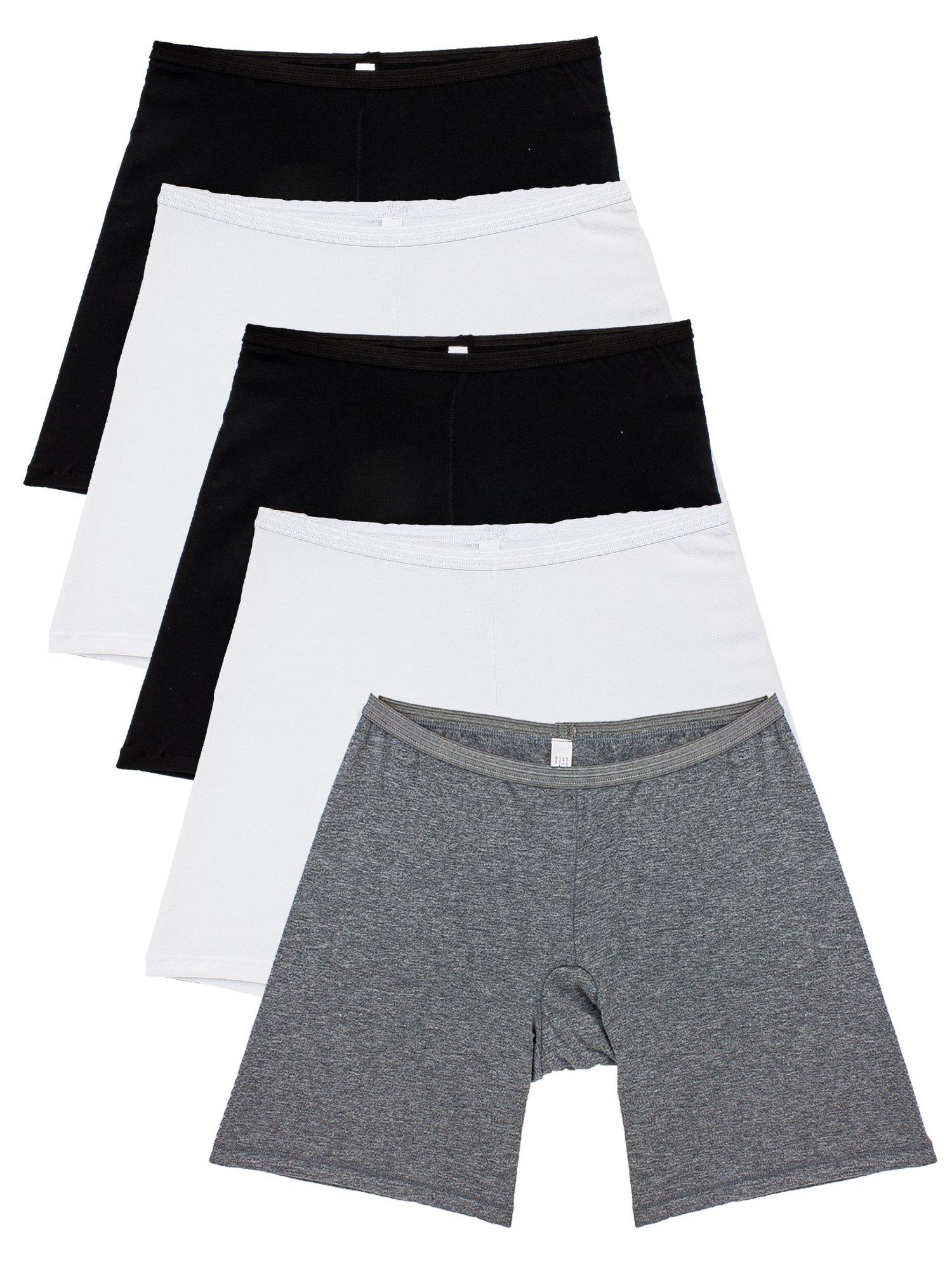 B2BODY 5 Pack Women's Regular Size Stretch Cotton Long Leg 6.5'' Boyshort Briefs(Small)