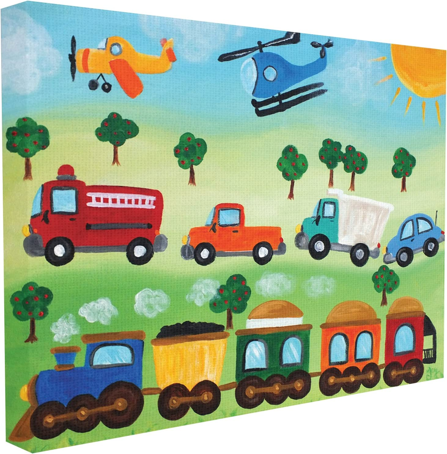 Stupell Industries The Kids Room by Stupell Planes, Trains, and Automobiles Canvas Wall Art, 30 x 40, Design by Artist nJoyArt