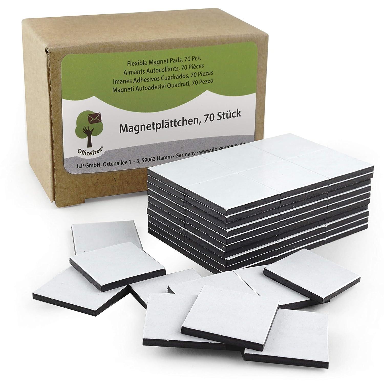 OfficeTree® - 70 láminas de imán, 20 x 20 mm, autoadhesivas para una imantación fiable de carteles, fotos o papel, fuerza de adhesión extra fuerte en ...