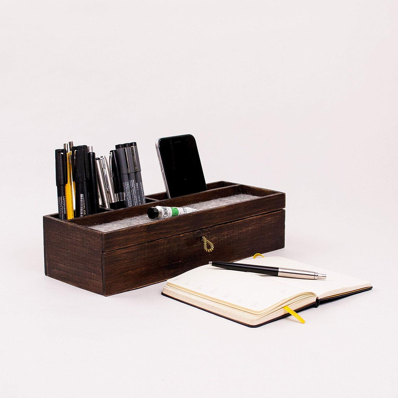 Exclusivo Organizador de escritorio de madera con cajón ...
