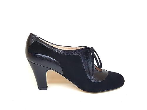 Gennia XALAO - Botines de Piel para Mujer con Lazada con Cordones + Tacon Botier 6 cm + Punta Redonda Cerrada: Amazon.es: Zapatos y complementos