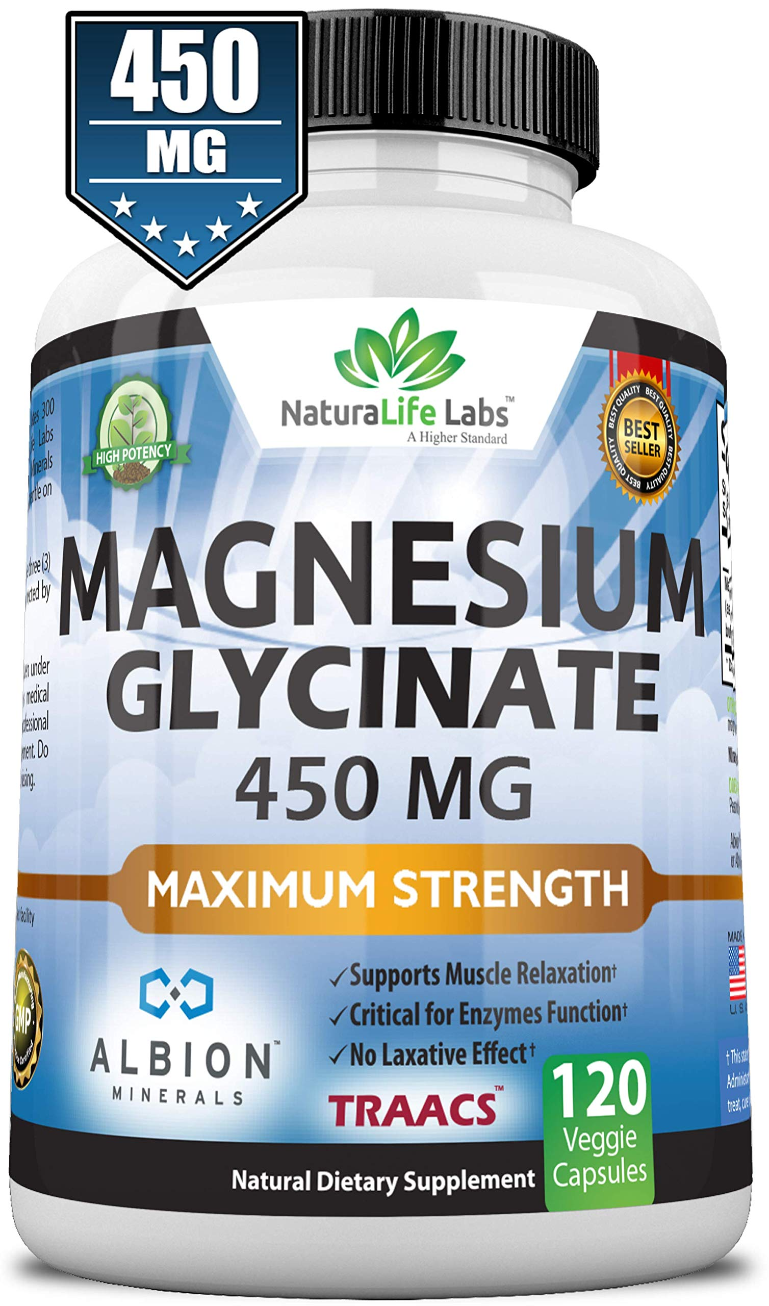 Magnesium Glycinate 450 MG Albion Minerals TRAACS Maximum Bioavailability Chelate No Laxative Effect Vegan Helps Function of Muscles, Bones, Heart Non-GMO