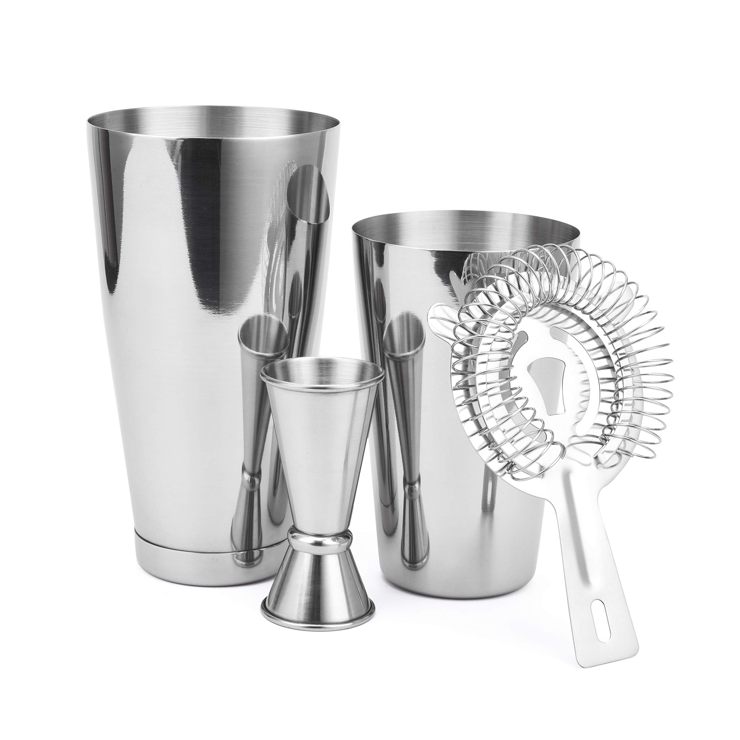 Boston Shaker 4 Piece Cocktail Making Set: 18oz Unweighted & 28oz Weighted Professional Bartender Cocktail Shaker Set with Double Jigger and Hawthorne Strainer/Cocktail Recipe Booklet by Cresimo