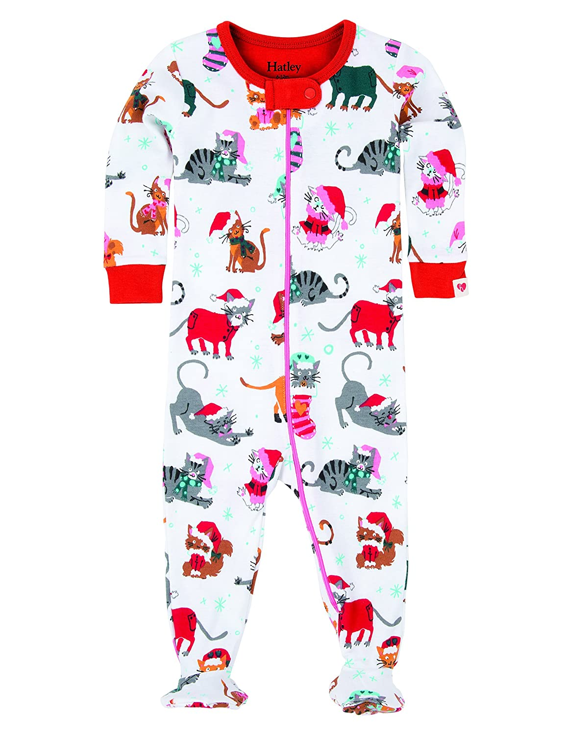 Hatley Baby Girls' Footed Coverall-Holiday Cats Footies DR5CACA134