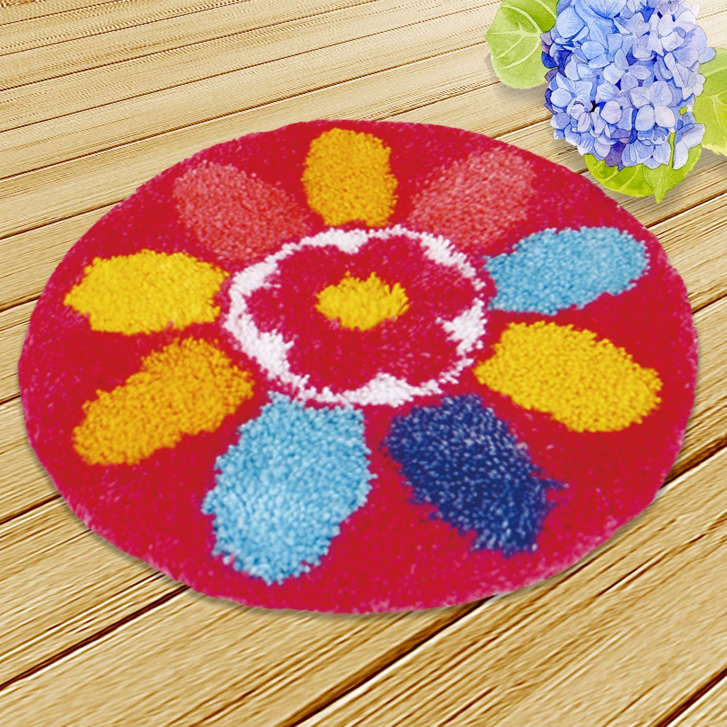 Latch Hook Kit DIY Rug Carpet Handcraft Cushion Embroidery Set Crocheting for Kids /& Adults Animal//Flower Pattern Daisy, 20x20 inch