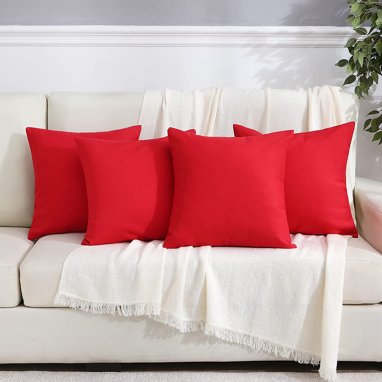 Outdoor Pillow Covers Patio Furniture Waterproof Decorative Square Outside Garden Cushion Throw Pillowcase Shell for Patio Tent Couch Pack of 4 18x18 Inch Scarlet