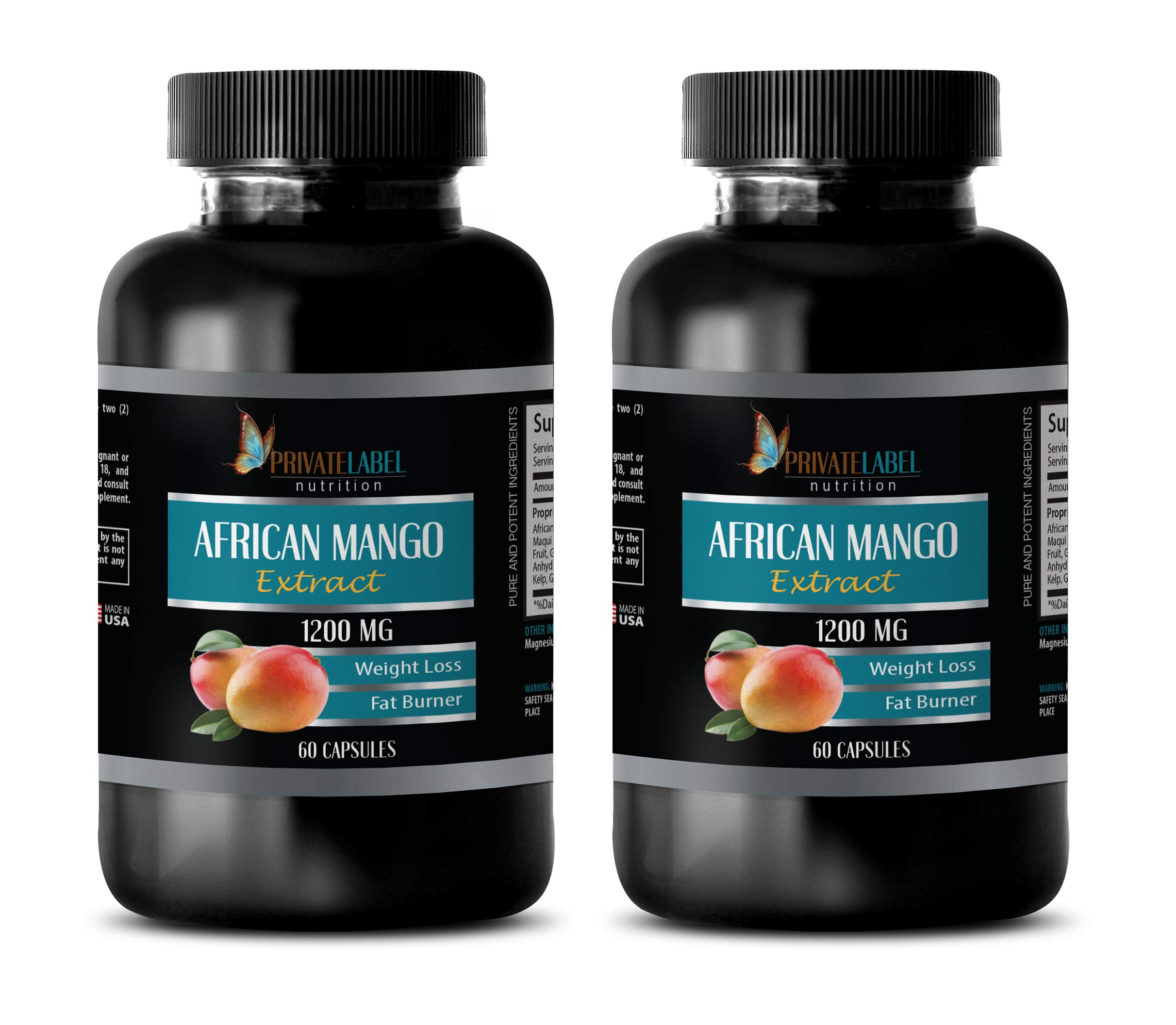 Fat Burner Supplements for Men - African Mango Extract 1200 MG - African Mango Advanced - 2 Bottles (120 Capsules)