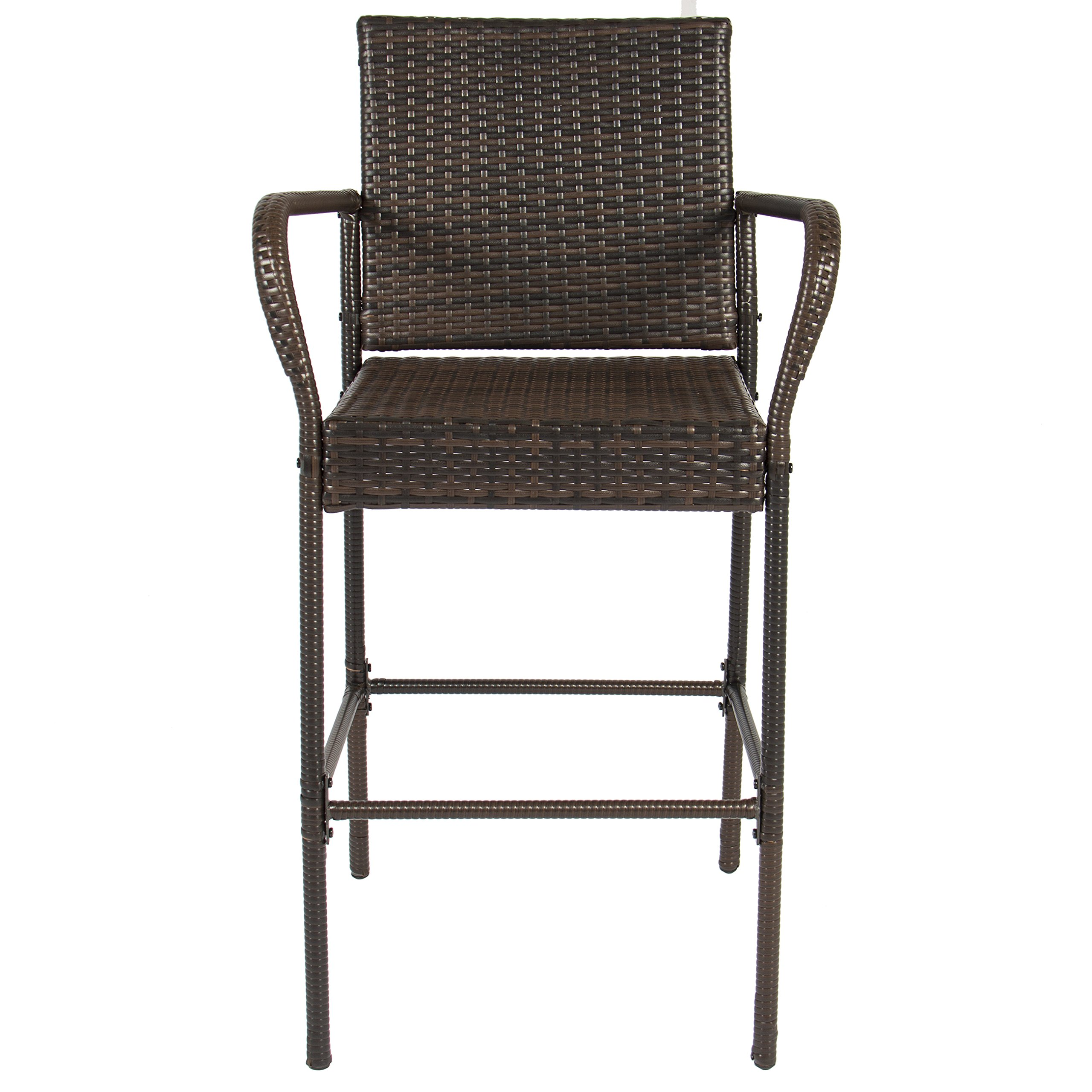 Best Choice Products Set of 2 Outdoor Brown Wicker Barstool Outdoor Patio Furniture Bar Stool by Best Choice Products (Image #4)