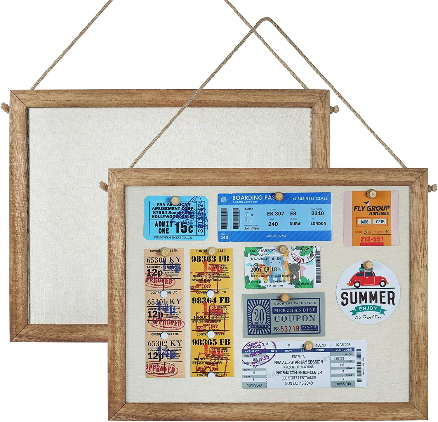 TJ.MOREE Small Bulletin Board 11'' X 14'' Framed Cork Board Decorative Hanging Pin Board, Farmhouse Fabric Linen Bulletin Board for Kids, Personal Office Wall Decor Home School Vision Board Set of 2