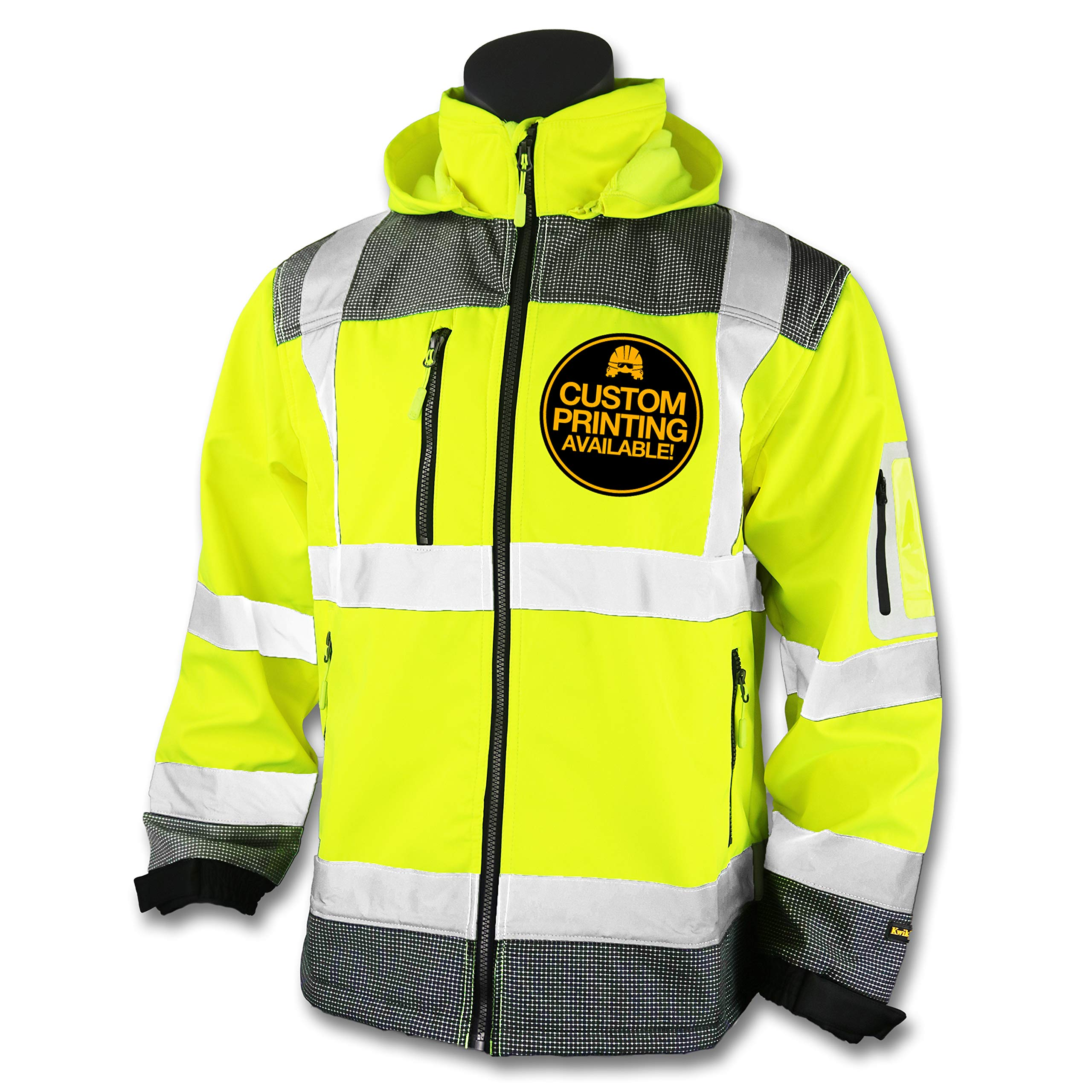 KwikSafety (Charlotte, NC) GALAXY Class 3 SoftShell Safety Jacket | ANSI Water Resistant Lightweight Reflective Hi Vis PPE Detachable Hood| Wind Rain Construction, Men Women Yellow | X-Large by KwikSafety