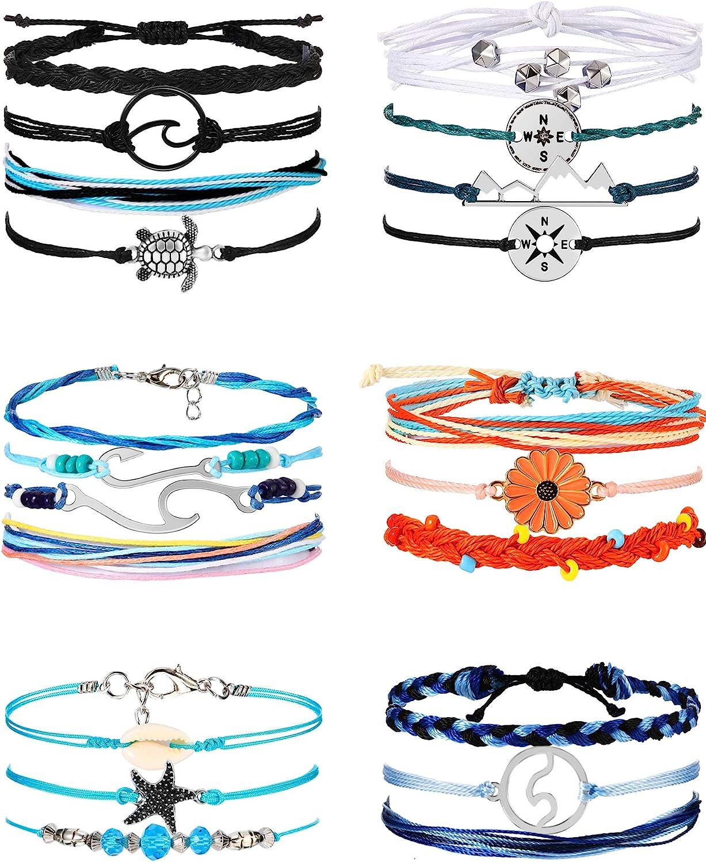 Waves woven ocean friendship bracelet white and blue wristband ocean vibes nautical gift beach lover