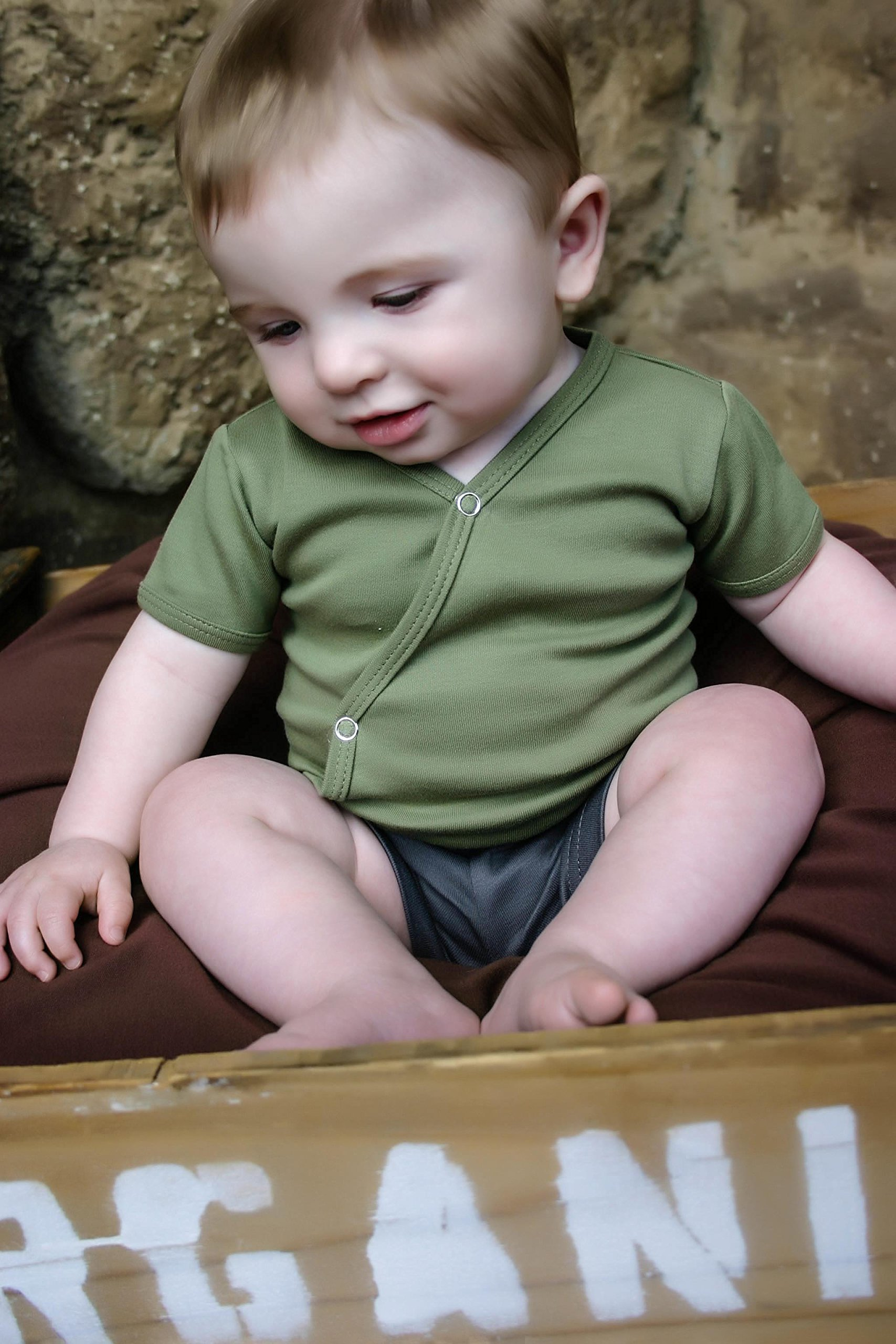 L'ovedbaby Unisex-Baby Organic Cotton Kimono Short Sleeve  Bodysuit, Sage, 0/3 Months by L'ovedbaby (Image #3)