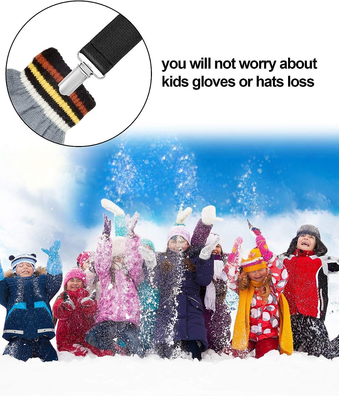 Chengu 8 Pieces Elastic Gloves Clips Stainless Steel Mitten Clips for Kids Supplies