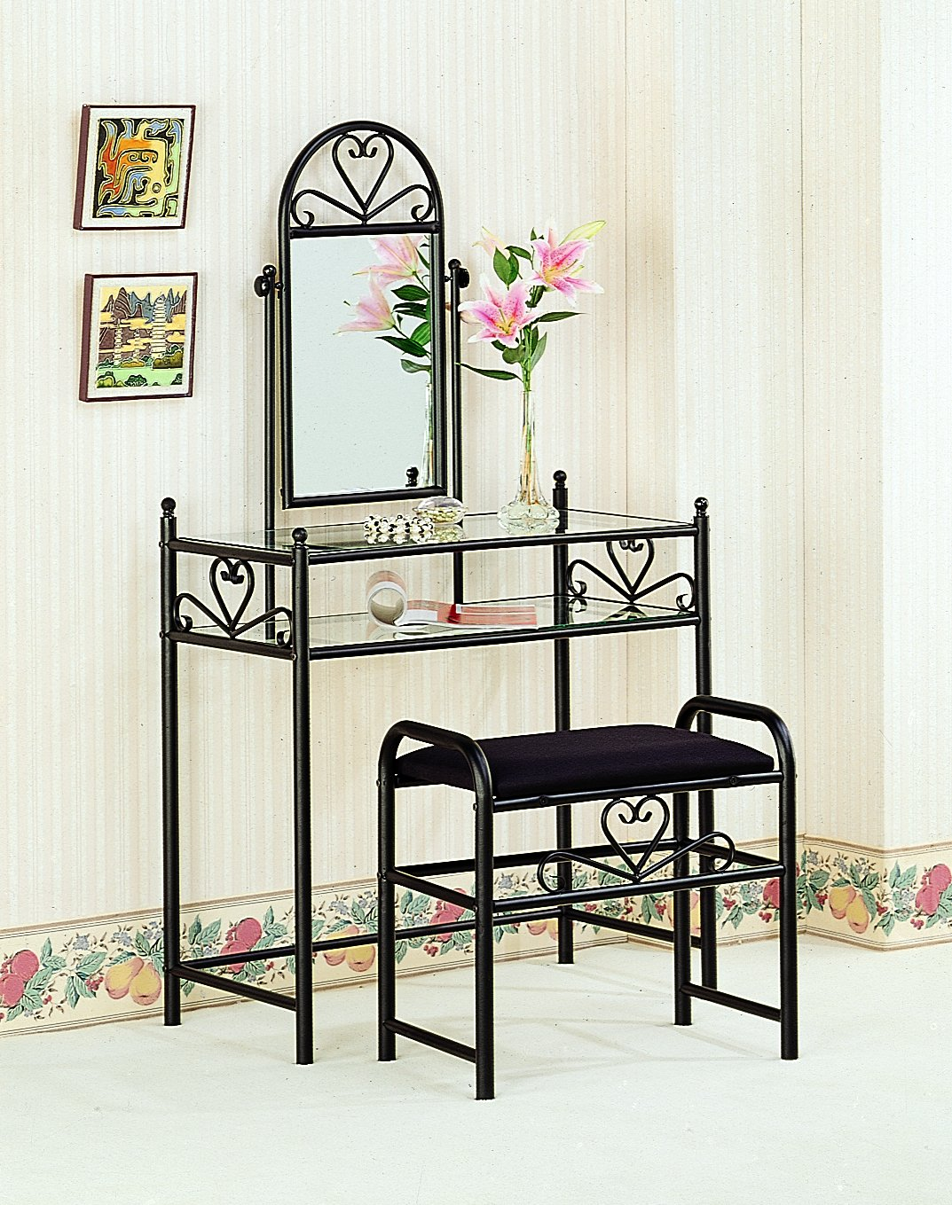 Coaster Traditional Black Metal Vanity with Glass Top and Fabric Stool